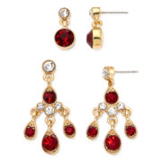 Monet® Red Crystal Gold-Tone 2-pr. Earring Set