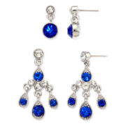 Monet® Blue Crystal Silver-Tone 2-pr. Earring Set