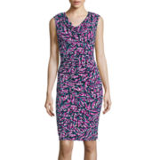 Black Label by Evan-Picone Cap-Sleeve Print Sheath Dress