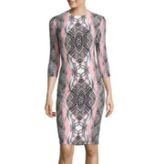 Bisou Bisou® 3/4-Sleeve Geometric Print Sheath Dress