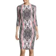 Bisou Bisou® 3/4-Sleeve Geometric Print Sheath Dress