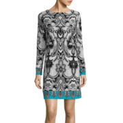 nicole by Nicole Miller® Long-Sleeve Print Shift Dress