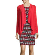 R&K Originals® 3/4-Sleeve Geometric Print Jacket Dress