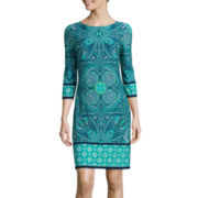 London Style Collection 3/4-Sleeve Medallion-Print Shift Dress