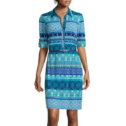 R&K Originals® 3/4-Sleeve Print Shirt Dress