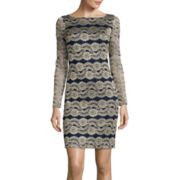 La Nouvelle Renaissance Long-Sleeve Lace Shift Dress