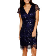 Blu Sage Short-Sleeve Beaded Sheath Dress