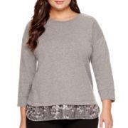 Stylus™ 3/4-Sleeve Sequin-Hem Sweatshirt - Plus