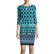 Liz Claiborne® 3/4-Sleeve Printed Sheath Dress