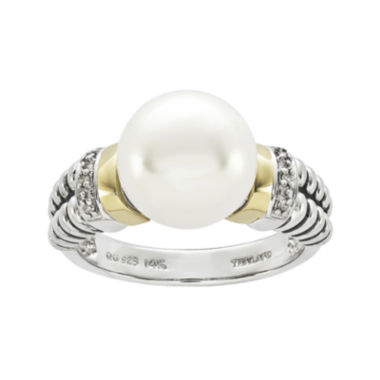 jcpenney.com | Shey Couture Cultured Freshwater Pearl and Diamond-Accent Sterling Silver and 14K Gold Ring