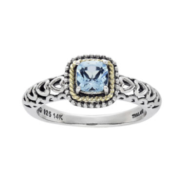 jcpenney.com | Shey Couture Genuine Blue Topaz Sterling Silver and 14K Yellow Gold Cushion Heart Ring