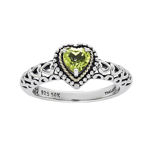 Shey Couture Genuine Peridot 14K Gold Over Sterling Silver Heart Stone Ring