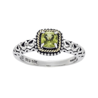 jcpenney.com | Shey Couture Genuine Peridot 14K Gold Over Sterling Silver Heart Cutout Ring
