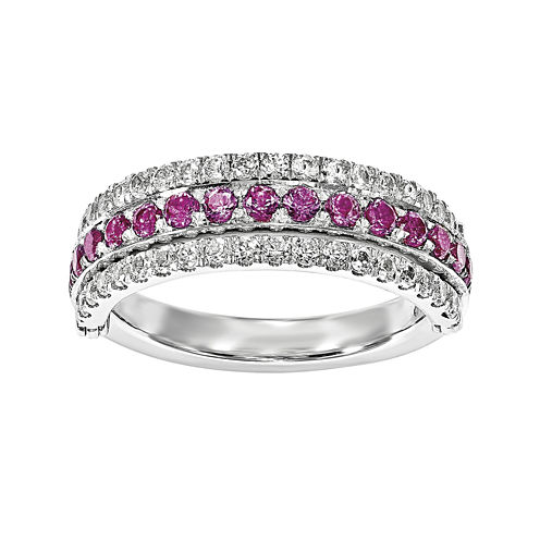 Lab-Created Pink, Blue and White Sapphire Sterling Silver Flip Ring