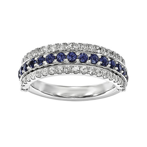 Lab-Created Blue Sapphire, Emerald and White Sapphire Sterling Silver Flip Ring