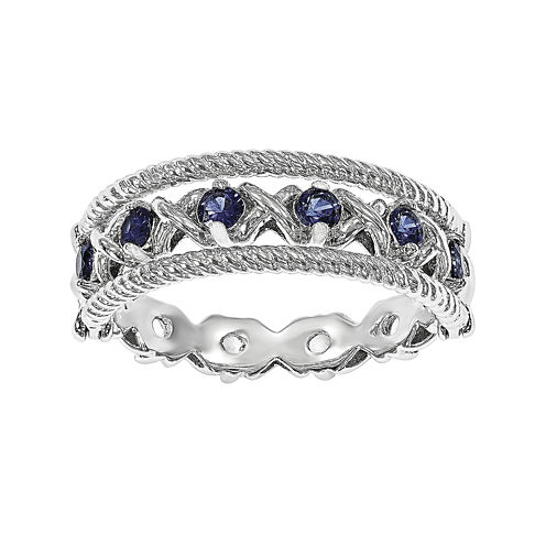 Personally Stackable Lab-Created Blue and White Sapphire Sterling Silver Stackable Flip Ring