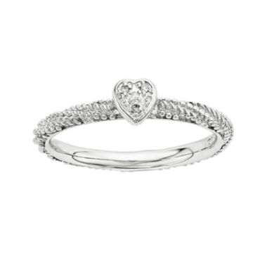 jcpenney.com | Personally Stackable Diamond-Accent Sterling Silver Stackable Textured Heart Ring