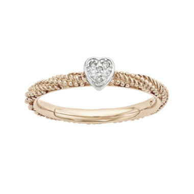 jcpenney.com | Personally Stackable Diamond-Accent 18K Rose Gold Over Silver Stackable Heart Ring