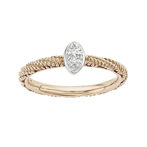 Personally Stackable Diamond-Accent 18K Rose Gold Over Sterling Silver Stackable Ring