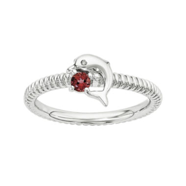 jcpenney.com | Genuine Garnet and Diamond-Accent Sterling Silver Stackable Dolphin Ring