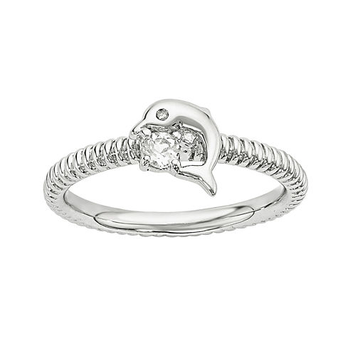 Genuine White Topaz and Diamond-Accent Sterling Silver Stackable Dolphin Ring