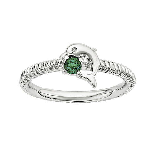 Lab-Created Emerald and Diamond-Accent Sterling Silver Stackable Dolphin Ring