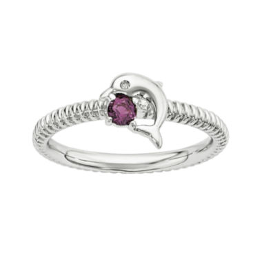 jcpenney.com | Genuine Rhodolite Garnet and Diamond-Accent Sterling Silver Stackable Dolphin Ring