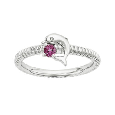 jcpenney.com | Genuine Pink Tourmaline and Diamond-Accent Sterling Silver Stackable Dolphin Ring