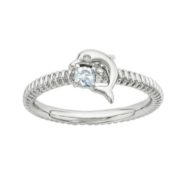 jcpenney.com | Genuine Blue Topaz and Diamond-Accent Sterling Silver Stackable Dolphin Ring