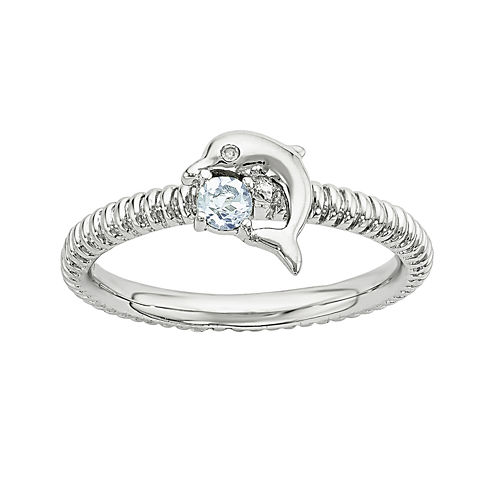 Genuine Blue Topaz and Diamond-Accent Sterling Silver Stackable Dolphin Ring