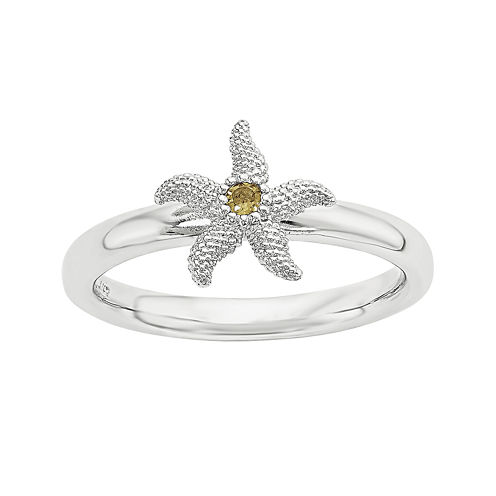 Personally Stackable Genuine Citrine Sterling Silver Stackable Starfish Ring