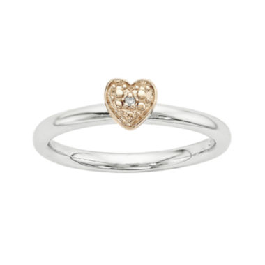 jcpenney.com | Personally Stackable Diamond-Accent Sterling Silver & Rose Gold Stackable Heart Ring