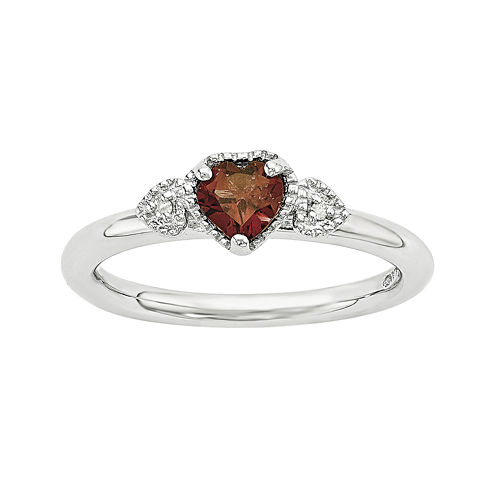 Personally Stackable Genuine Garnet and Diamond-Accent Sterling Silver Stackable Heart Ring