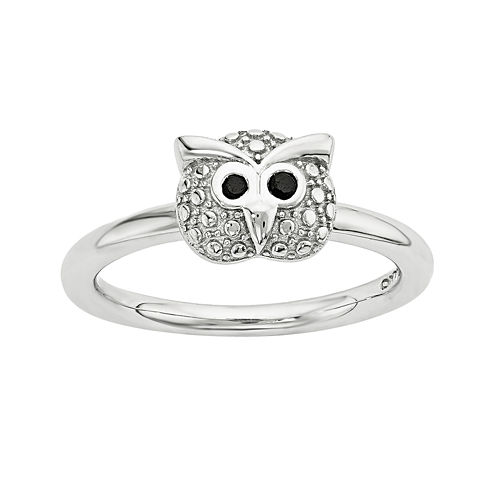 Personally Stackable Genuine Onyx Sterling Silver Stackable Owl Ring