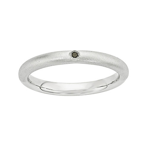 Personally Stackable Color-Enhanced Black Diamond-Accent Sterling Silver Stackable Ring