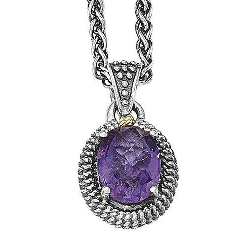 Shey Couture Sterling Silver with 14K Amethyst Oval Necklace