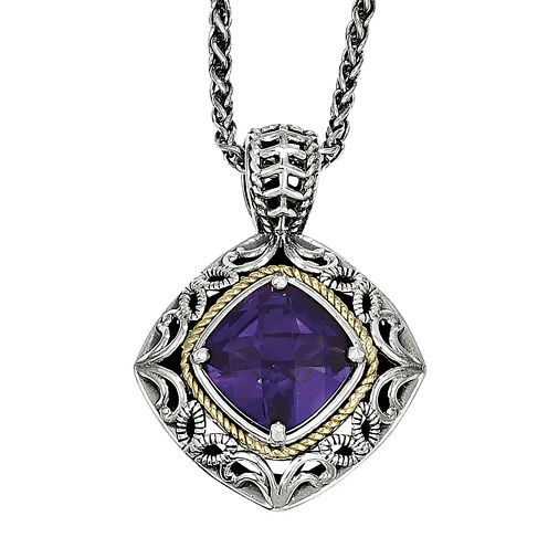 Shey Couture Sterling Silver Genuine Amethyst Pendant Necklace