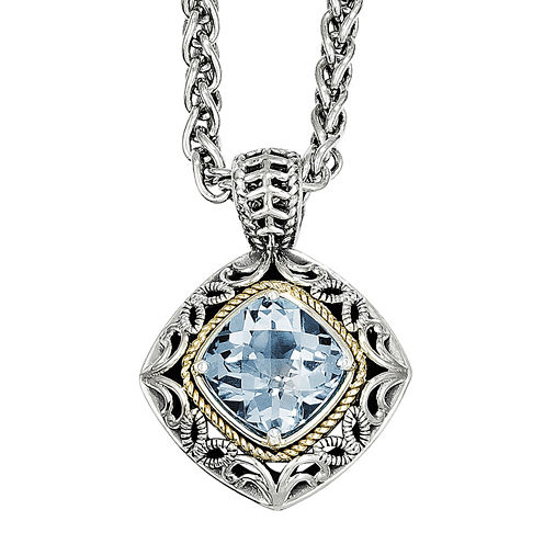 Shey Couture Genuine Blue Topaz Sterling Silver 14k Gold Pendant Necklace