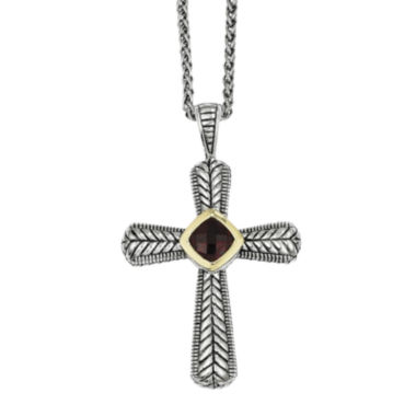 jcpenney.com | Shey Couture Genuine Garnet Sterling Silver and 14K Yellow Gold Cross Pendant Necklace