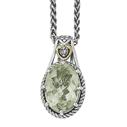 Shey Couture Green Quartz Sterling Silver Antiqued Pendant Necklace