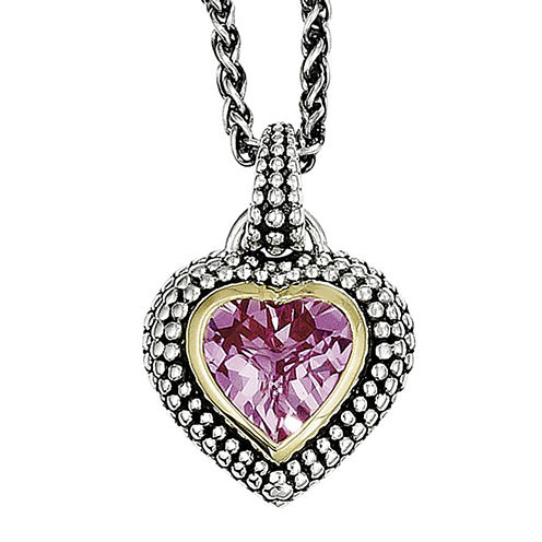 Shey Couture Lab-Created Pink Sapphire Sterling Silver Antiqued Heart Pendant Necklace