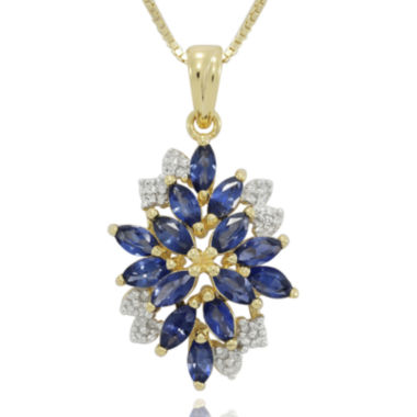 jcpenney.com | Lab-Created Blue and White Sapphire 14K Yellow Gold Over Sterling Silver Pendant Necklace