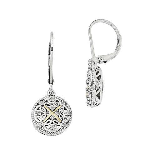 Shey Couture 1/8 CT. T.W. Diamond 14K Sterling Silver Vintage-Look Earrings