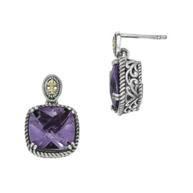 jcpenney.com | Shey Couture Genuine Amethyst Sterling Silver and 14K Gold Dangle Post Earrings