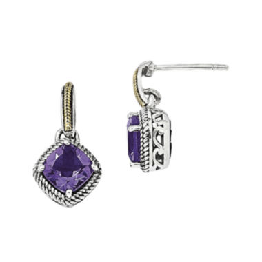 jcpenney.com | Shey Couture Sterling Silver with 14K Antiqued Amethyst Post Dangle Earring