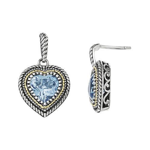 Shey Couture Genuine London Blue Topaz Sterling Silver 14K Gold Heart Earrings
