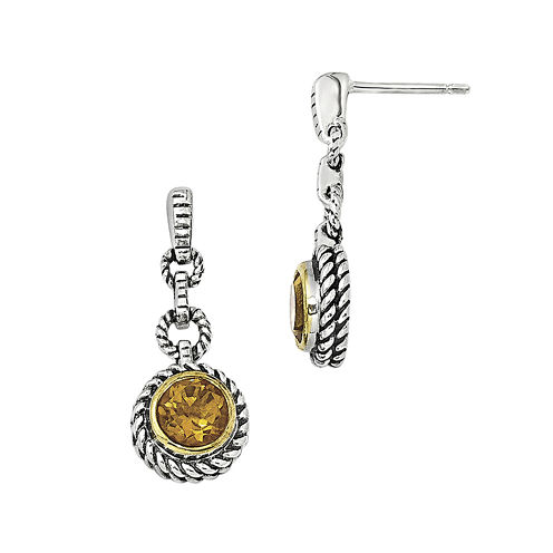 Shey Couture Genuine Citrine Sterling Silver Drop Earrings