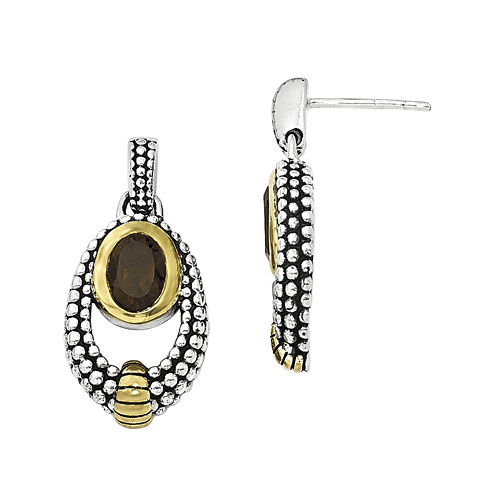 Shey Couture Smoky Quartz Sterling Silver Antiqued Drop Earrings