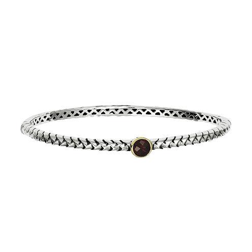 Shey Couture Sterling Silver Genuine Garnet Bangle Bracelet