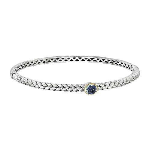 Shey Couture Sterling Silver Genuine Blue Topaz Bangle Bracelet